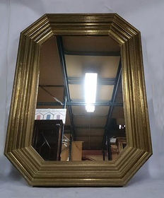 Gold-coloured wood mirror. From the 80s