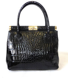 Kelly Bag  Vintage Italian patent leather bag leather hand bag