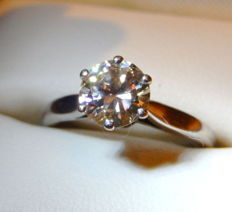 Ring in 18 kt white gold and 1.30 ct diamond - size: 54, no. 14 i.e. 17.25 mm