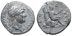 Roman empire - Hadrian - Silver Denarius - 125-128 AD. Roma Seated - Scarce