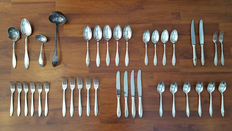 38 pieces silver cutlery set, consisting of 17 pieces Wellner 90 and 21 pieces Gero 100, Germany, approx 1950's