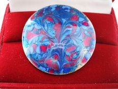 Vintage ( 1960s) - Artisan Signed - Copper & Enamel Large colourful rounded Brooch- NO Reserve