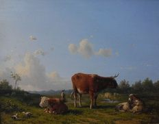Willem Kooiman Azn. (1831-1881) - landscape with cattle and shepherdess, possibly near Enkhuizen