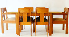 Amsterdam School oak dining area with extension table and six chairs