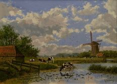 Albertus J. Temming (born 1942) - Cows near a waterway in Dutch landscape with windmill