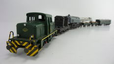 """Fleischmann H0 - 6302/5596/5137 - 7 Piece Crane set """"Krupp Ardelt"""" with a diesel shunting locomotive and personnel carriage of the DB"""