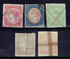 Spain 1865 – Isabel II era – Edifil 69, 70, 72, 73 and 73A