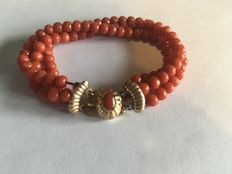 Red coral children's bracelet with 14 kt gold clasp
