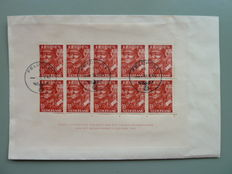 The Netherlands 1942 - legion block on letter - NVPH 402B, with plate flaws Mast 402B PM