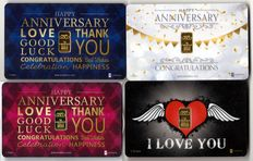 4 g of 999.9 Nadir Gold - 4 Gold cards - I LOVE YOU - HAPPY ANNIVERSARY GOLD - HAPPY ANNIVERSARY PINK - HAPPY ANNIVERSARY BLUE - LBMA certificate - Karatbars Int. GmbH - Germany