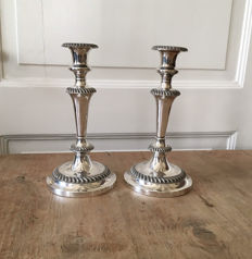 silver-plated (silverplate) candlesticks, Sheffield, England, approx. 1930,