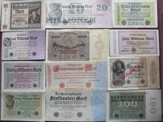 Lot of 60 original banknotes and coupons from the interwar years between World War I and II, extreme million and billion values, a variety of old German Reich banknotes