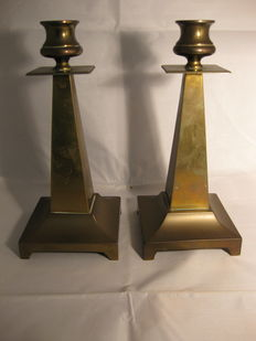 2 bronze candlesticks. Most likely Dutch, Possibly end 19th Century or beginning 20th. Century