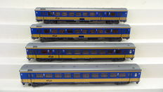 "Märklin H0 - 42651/4265/4264 - 4 Intercity carriages type ""ICR"" 1st and 2nd class, partly with interior lighting of the NS"