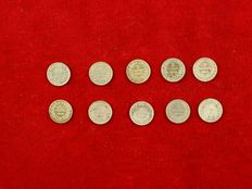 The Netherlands - 5 cents 1850/1887 (10 different coins) Willem III -silver