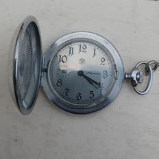 Vintage Molnija pocket watch CCCP, 1970s, on chain