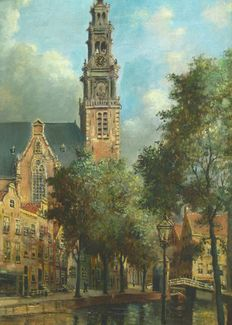 Jac Lambertus (20th century) - Amsterdam, Western Tower and Prinsengracht