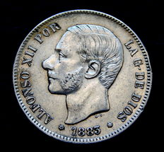 Spain – Alfonso XII – 5 pesetas silver coin – 1883 *18-8 MSM