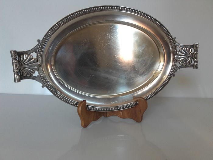 Oval serving tray with lion paws (silver plated metal)