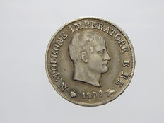 "Kingdom of Italy – 10 Soldi, 1808, Milan, ""Napoleon"", small stars engraved on the edge – Silver"