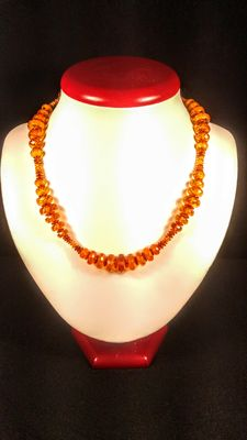 Natural Baltic Amber faceted beads necklace, 22 grams