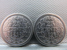 The Netherlands – 25 cents 1915 and 1916 Wilhelmina – silver
