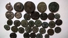 Roman Empire - Lot comprising 33 different bronze and silver coins, 1st-4th century