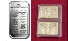 United States - 1 oz 999 silver bullion bar - 10 Commandments of God with English text + 1 medallion bar 24 carat gold-plated - 10 Commandments
