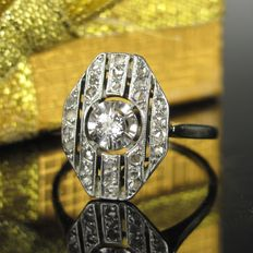 Antique gold Art Deco ring with diamonds, approx. 0.20 ct, no reserve price
