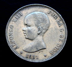 Spain- Alfonso XIII – 5 pesetas silver coin – 1891 *18-91 PGM