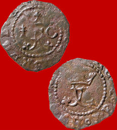 Spain – Catholic Monarchs (1474–1504), rare copper blanca coin. Cuenca.  Chalice/C.