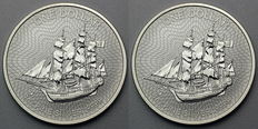 Cook Islands - 2 x 1 Cook Dollar, Bounty Sailing Ship - 2 x 999 Silver Coins