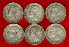 Spain – Set of 6x silver coins of 5 pesetas each – Amadeo I (1871*71 and 1877); and Alfonso XII (1877 and 1885*87). (6).