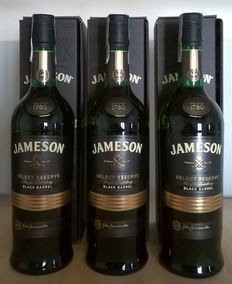 3 bottles - Jameson Select Reserve Black Barrel  (old label & bottle design - with box)