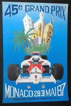 1987 Monaco Grand Prix Original Racing Poster