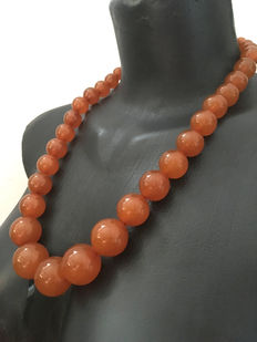 Antique butterscotch/ orange  Baltic Amber necklace 129,8 grams, old amber  1920's