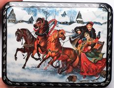 "Russian lacquer box  -""Fedoskino"" - Russian Village – ""The Abduction of the Girl"""