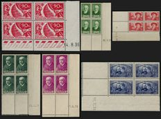 France 1936/1938 - Lot of blocks of four with dated corners - Yvert no. 326, 343/344, 377/377A, 402.