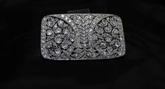 Attributed to Manuel Valentí i Gallard (Barcelona 1880- 1969) - Spectacular Art Deco brooch with openwork platinum and diamond (7 ct) front - Ca. 1920