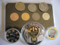 Germany - 2 Euro 2012 (4 plated coins) - Precious Metal Set & Lot of 3 gold plated medals + 3 coins mark
