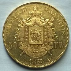 France – 50 Francs 'Napoléon III' 1855-A Paris – Gold.