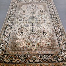 Majestic gold Persian Ghom rug made entirely of silk, 165 cm x 110 cm, collector's item, with certificate