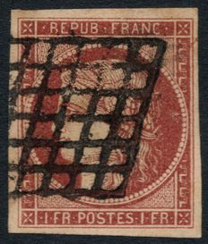 France 1849 - Ceres 1fr crimson-brown, grill cancellation, signed Maury and Baudot - Yvert no. 6B