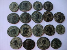 Roman Empire - Lot of 18 antoninianus coins of Quintillus, Galienus, Maximian, Claudius II, Probus, and Victorinus