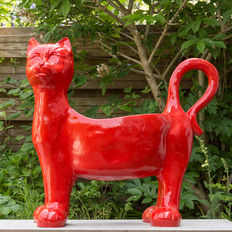 Beautiful red planter shaped like a cat