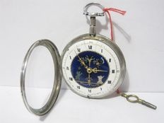 ANTIQUE VERGE POCKET WATCH SILVER CASE XIX CENTURY WITH PAINTED DIAL