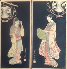 Two woodcuts by Ippitsusai bunch (active from 1765-1792) – Japan – 1920 reprint