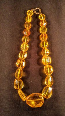 Old lemon colour faceted beaded Natural Baltic Amber necklace, 76 grams