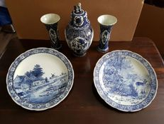 Large 5 piece set created by Boch for royal sphinx Delft blue