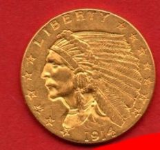United States - 2½ Dollars 1914 'Indian Head' - Gold